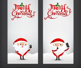 Santa claus greeting card banner with smartphone vector