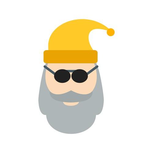 Santa claus icon vector with sunglasses