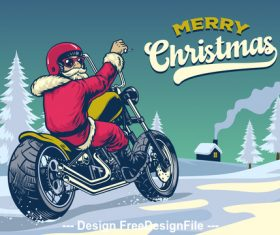 Santa riding motorcycle vector