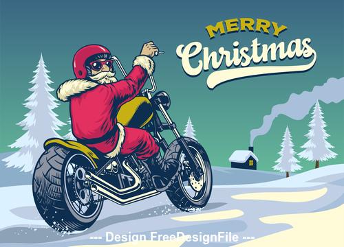 Santa riding motorcycle vector