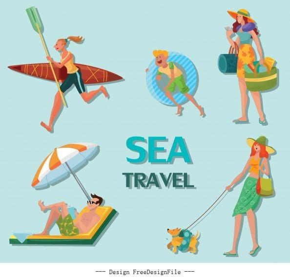 Sea travel icons joyful people cartoon characters vector