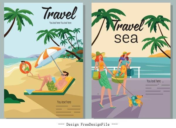 Sea travel poster colorful cartoon vector design