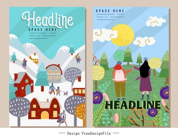Seasonal festive banners colorful cute cartoon vector