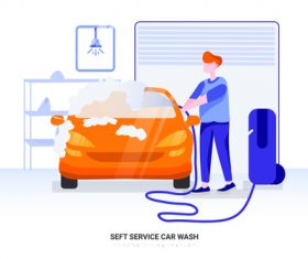Self service car wash illustration vector