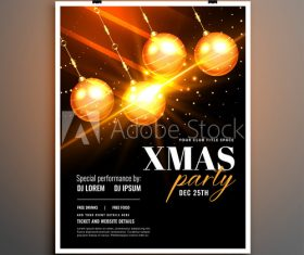 Shiny Christmas ball decoration New Year party cover flyer vector