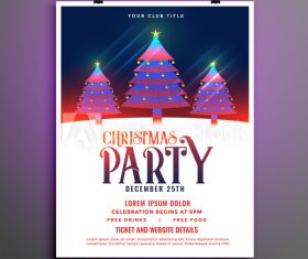 Shiny Christmas tree background party flyer vector
