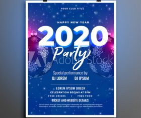 Shiny blue new year party flyer vector