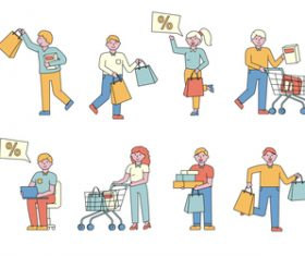 Shoppers lineart people character vector