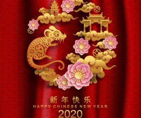 Silhouette Rat symbol New Year 2020 illustration vector