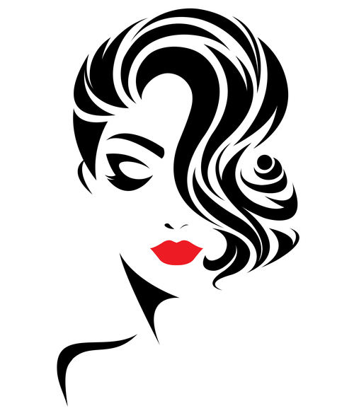 Silhouette woman fashion hairstyle vector
