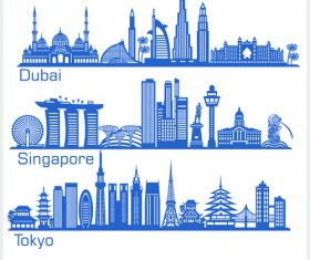 Singapore and other cities silhouette vector