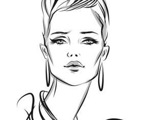 Sketch female portrait vector