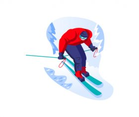 Skiing winter sport cartoon vector