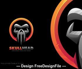 Skull head bold logo template vector