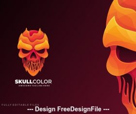 Skull head liquid logo template vector