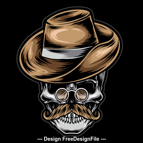Skull tattoo logo design vector