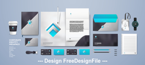 Sky blue background corporate branding identity template vector