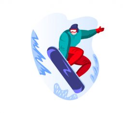 Snowboard sport cartoon vector