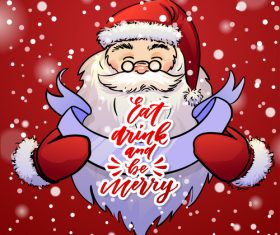 Snowflake background and santa cartoon vector
