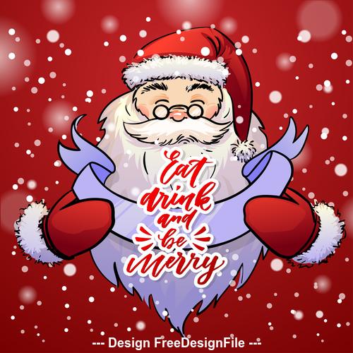 Snowflake background and santa cartoon vector