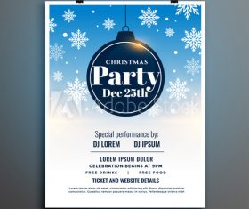 Snowflake christmas party flyer vector