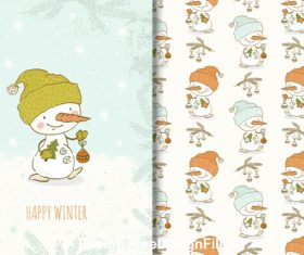 Snowman and cartoon background vector
