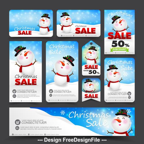 Snowman background christmas sale card vector