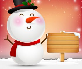 Snowman cartoon smile and blank wooden sign vector
