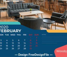 Sofa background calendar 2020 vector