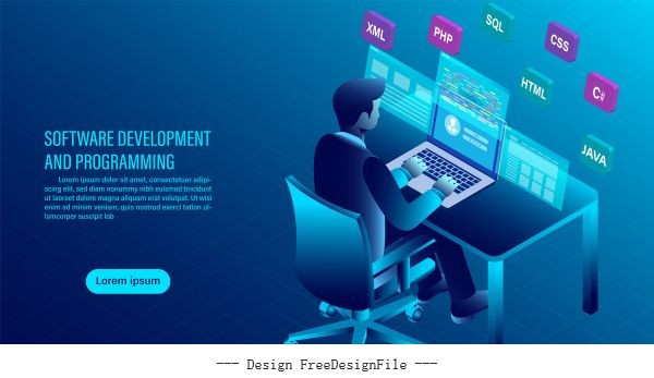 Software development and coding programming concept data processing computer code with window interface flat isometric illustration vector