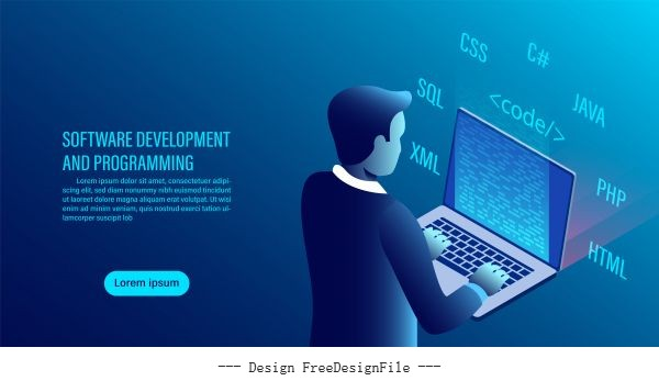 Software development and coding programming concept data processing computer code with window interface flat isometric illustration vectors material