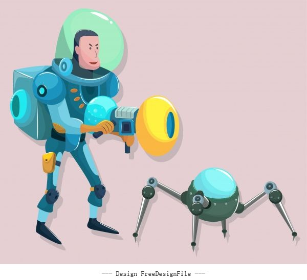 Space exploration icons modern cartoon character sketch vector