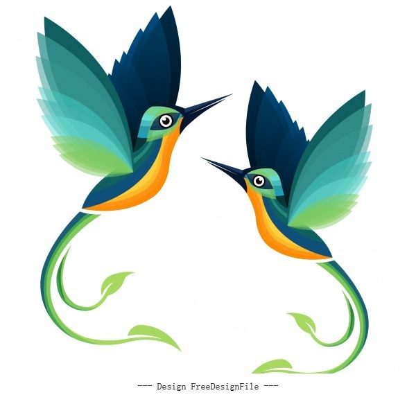 Sparrows flying colorful flat vector