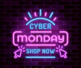 Special offer neon lights cyber monday vector