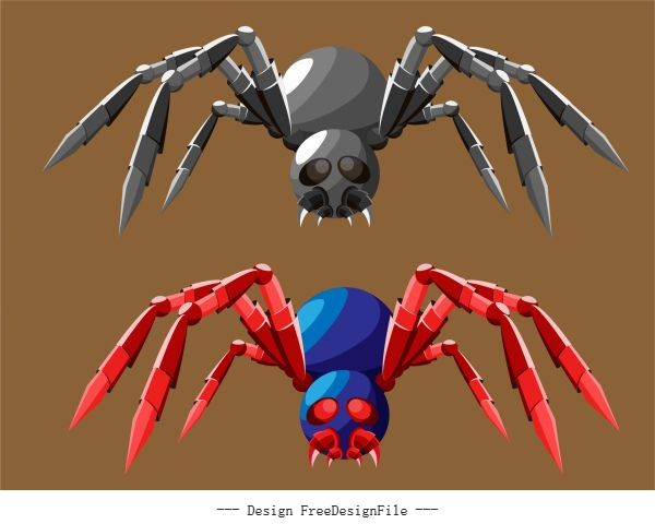 Spider robot colored 3d vector