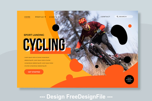 Sport landinc cycling page illustration template vector