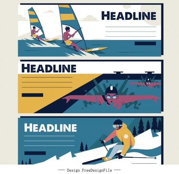 Sports tournament banners sailing swimming skiing vector