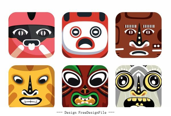Square masks templates colorful decor emotional vector