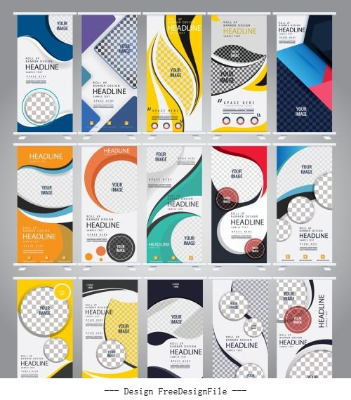 Standee banner templates modern vertical colorful abstract design vectors