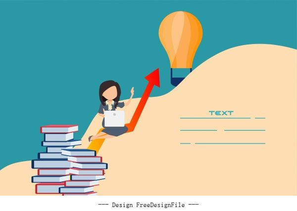Startup banner staff book stack lightbulb shiny vector