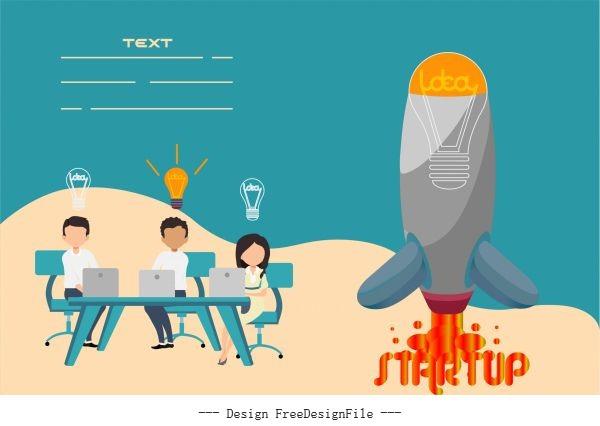Startup banner working staffs lightbulb spaceship lightbulb vector