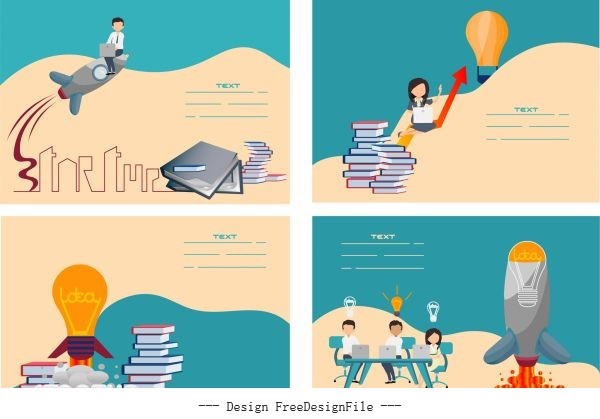 Startup banners lightbulb spaceship book stacks staffs vector