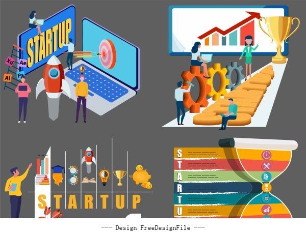 Startup concept inforgraphic templates colorful modern vector
