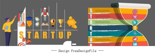 Startup infographic templates colorful flat symbols vector