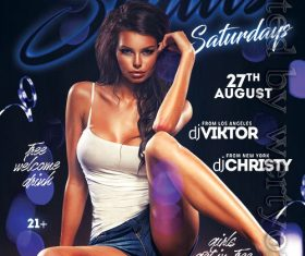 Status Saturdays Party Flyer PSD Template