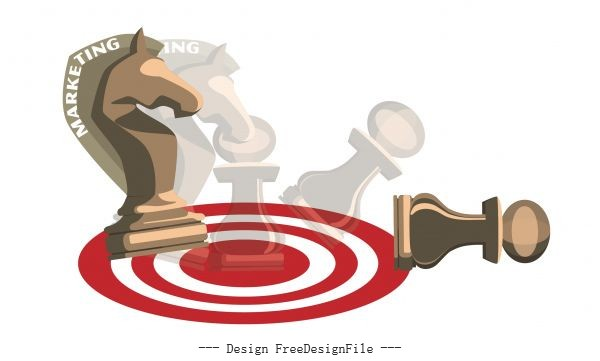 Strategy marketing background chesspieces icons blurred vector