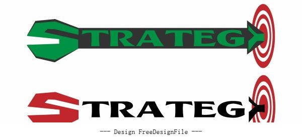 Strategy sign templates texts arrow target shape vector
