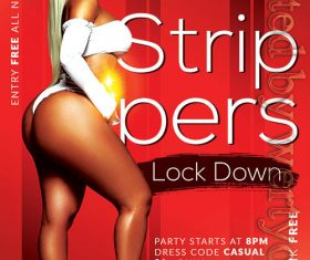 Strippers party flyer psd template