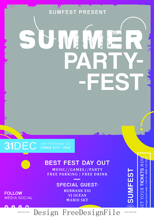 Summer Event and Music Flyer PSD Template Design
