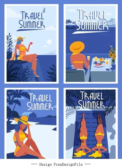 Summer posters templates bikini girl sea scene vector